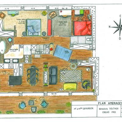 Décoratrice Lyon home staging Plan aménagement colorisé 2