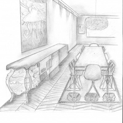 décoratrice lyon , home staging croquis salle à manger , projet arty