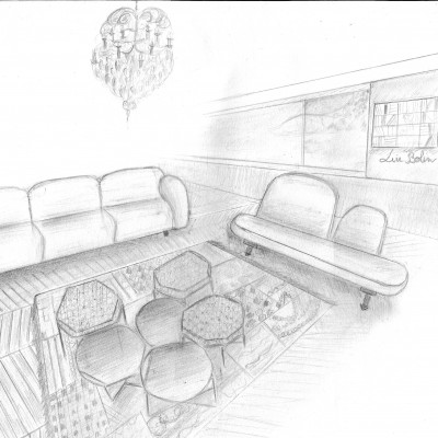 decoratrice lyon , home staging , croquis salon projet arty