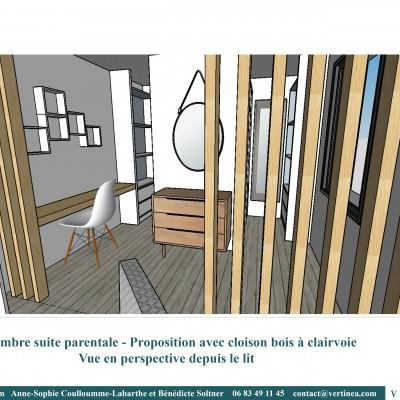 Rénovation aménagement décoration intérieure Lyon Chambre suite parentale
