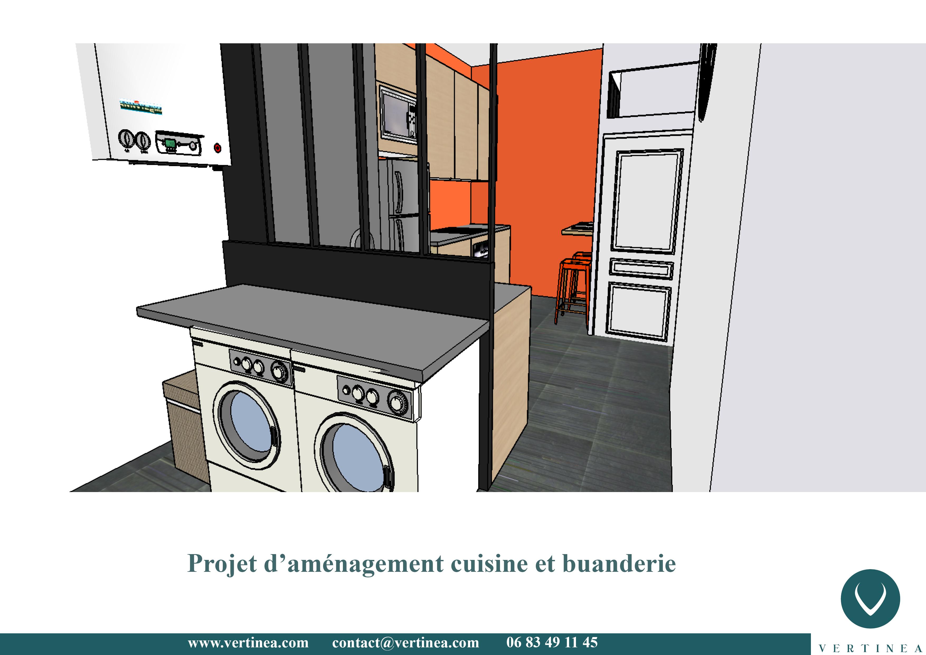 Aménagement optimisation d'une cuisine pour intégrer une buanderie ...