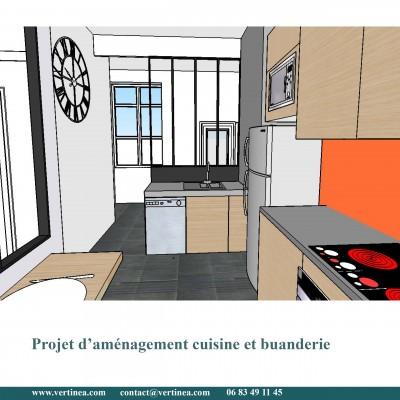 Cuisine verrière et plan bar - Conseils aménagement et déco intérieure Lyon Vertinea