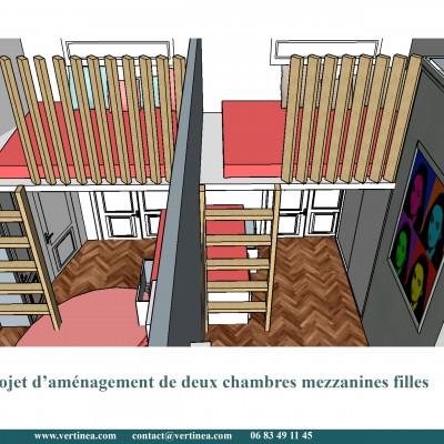 Chambre enfant fille mezzanine - Conseils aménagement et déco intérieure Lyon Vertinea