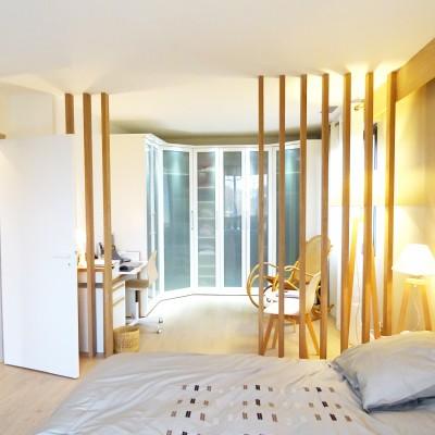 Décoration intérieure, aménagement, rénovation et suivi de chantier suite parentale Lyon St Cyr au Mont d'Or, style contemporain élégant et naturel - Chambre