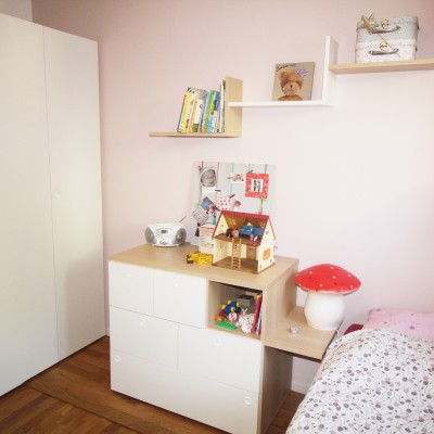 Décoration intérieure, aménagement, rénovation et suivi de chantier Chambre parentale Lyon Caluire, style scandinave contemporain élégant et naturel - Chambre fille rose