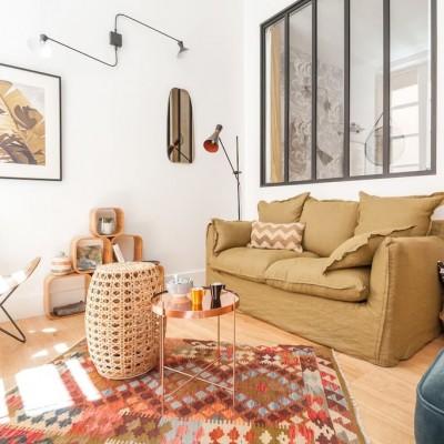 Décoration intérieure, aménagement, rénovation et suivi de chantier Studio Lyon, petit appartement vieux Lyon - Salon