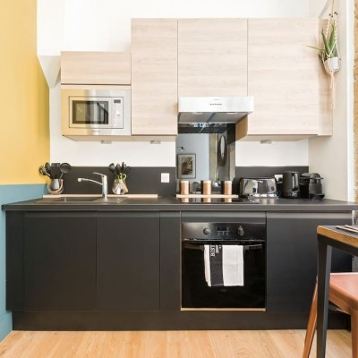 Décoration intérieure, aménagement, rénovation et suivi de chantier Studio Lyon, petit appartement vieux Lyon - Cuisine