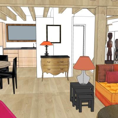 Décoration intérieure, aménagement, rénovation et suivi de chantier appartement Lyon 6 - Proposition 3D Salon ethnic chic