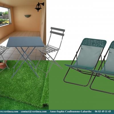 Décoration intérieure, aménagement, rénovation et suivi de chantier appartement Lyon 6 - Planche Balcon vert