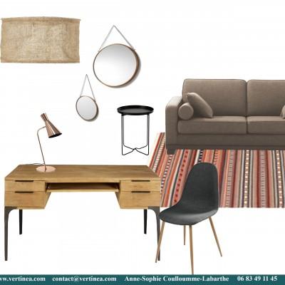 Décoration intérieure, aménagement, rénovation et suivi de chantier appartement Lyon 6 - Planche Bureau ethnic chic