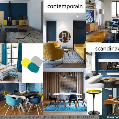 Décoration intérieure, aménagement, rénovation et suivi de chantier T4 Lyon, appartement Lyon 6 - Salon scandinave contemporain