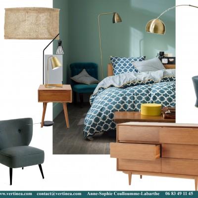 Décoration intérieure, aménagement, rénovation et suivi de chantier appartement Lyon 6 - Planche Chambre vintage