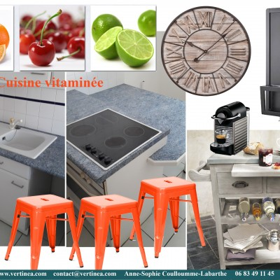 Décoration intérieure, aménagement, rénovation et suivi de chantier appartement Lyon 6 - Planche Cuisine vitaminée