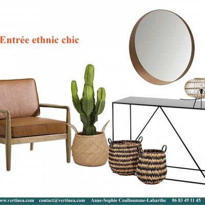 Décoration intérieure, aménagement, rénovation et suivi de chantier appartement Lyon 6 - Planche Entrée ethnic chic