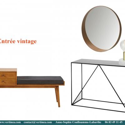 Décoration intérieure, aménagement, rénovation et suivi de chantier appartement Lyon 6 - Planche Entrée vintage