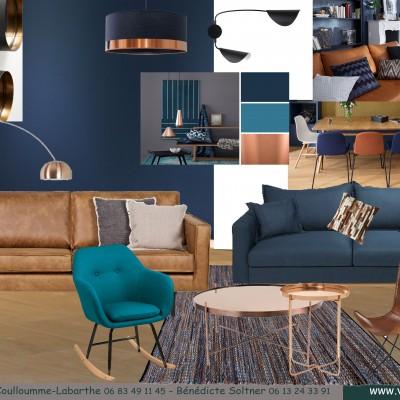 Décoration intérieure, aménagement, rénovation et suivi de chantier T4 Lyon, appartement Lyon 6 - Salon rétro-scandinave