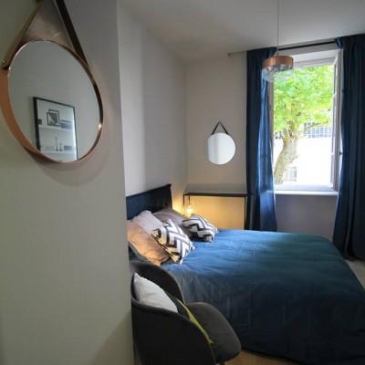 Décoration intérieure, aménagement, rénovation et suivi de chantier T4 Lyon, appartement Lyon 6 - Chambre rétro-scandinave