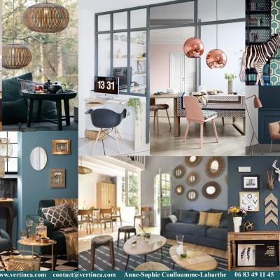 Décoration intérieure, aménagement, rénovation et suivi de chantier appartement Lyon 8 - Planche Salon scandinave bleu canard