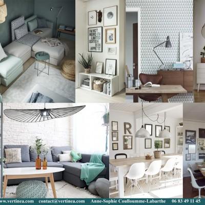 Décoration intérieure, aménagement, rénovation et suivi de chantier appartement Lyon 8 - Planche Salon scandinave