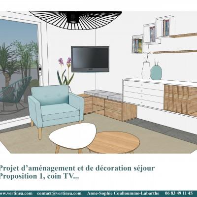 Décoration intérieure, aménagement, rénovation et suivi de chantier appartement Lyon 6 - Proposition 3D Salon scandinave