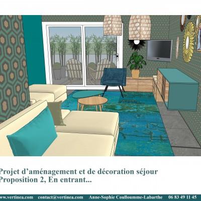 Décoration intérieure, aménagement, rénovation et suivi de chantier appartement Lyon 6 - Proposition 3D Salon scandinave bleu canard