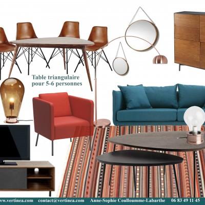Décoration intérieure, aménagement, rénovation et suivi de chantier appartement Lyon 6 - Planche Salon vintage
