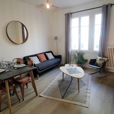 Décoration intérieure, aménagement, rénovation et suivi de chantier appartement Lyon Part-Dieu - Salon scandinave