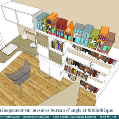 Chambre d'adolescent avec bureau, bibliothèque et placards sur mesures - Décoration intérieure, aménagement, rénovation et suivi de chantier Vertinea à Caluire
