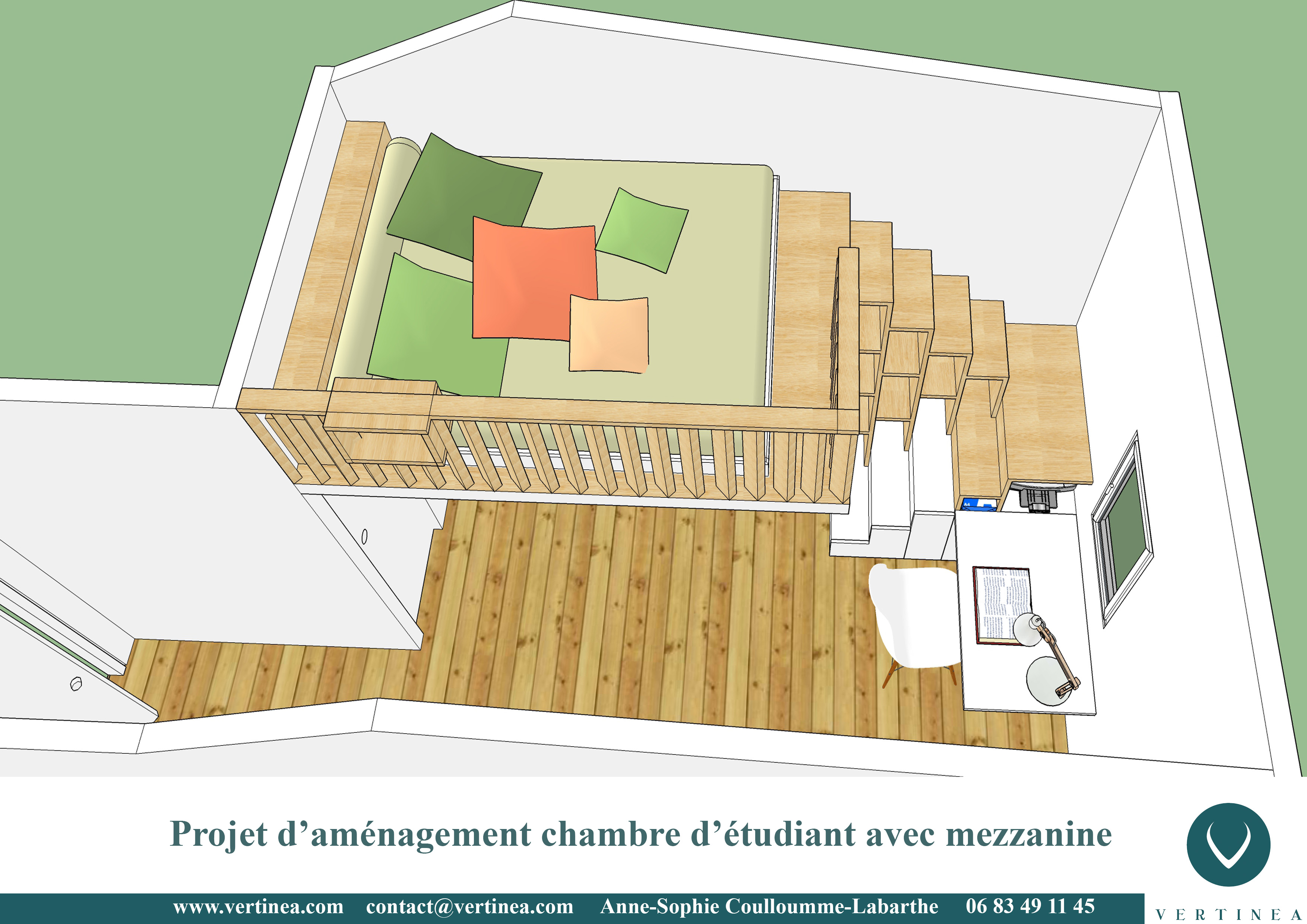 Aménagement d\'une chambre d\'étudiant avec mezzanine à Lyon - Vertinea