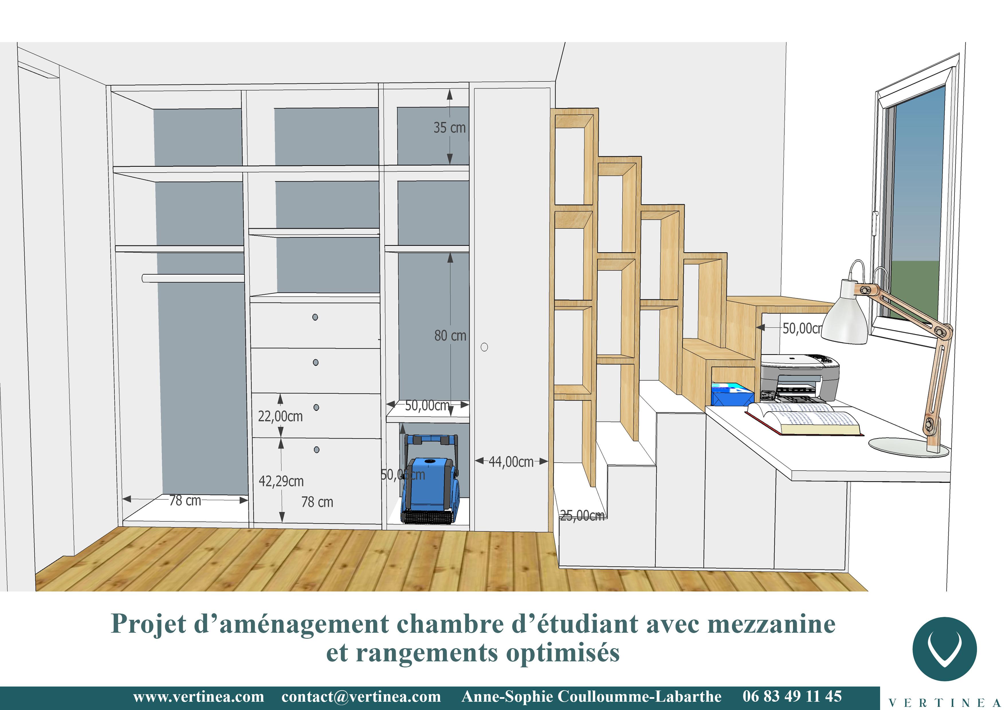 Aménagement dune chambre détudiant avec mezzanine à lyon vertinea